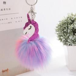 Porte-clés pendentif pom pom licorne et fourrure