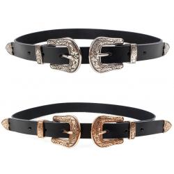 Double & single metal buckle leather belt