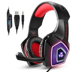Hunterspider V1 stereo gaming avec auriculaires microphone et lumière LED