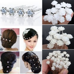 Pearl & crystal flowers hair pins 20 / 40 pcs