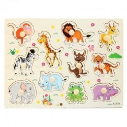 Rompecabezas animales dibujos animados de madera