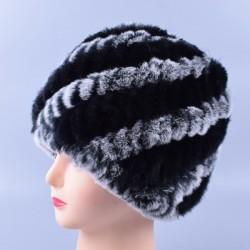 Ciepła czapka zimowa z futra królika