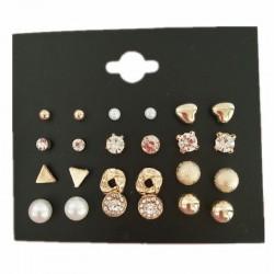 Kryształowe & perłowe złote & srebrne kolczyki komplet