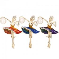 Ballerina kryształowa broszka