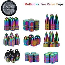 Neon aluminum car tire valve caps 4 pcs