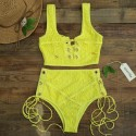 Lace high waisted swimsuit bikini set