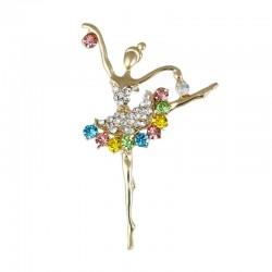 Kryształowa baletnica broszka