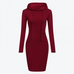 Fleece hooded dress with pockets