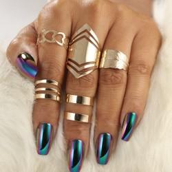 Modne punkowe regulowane drążone złote pierścionki 5 szt komplet