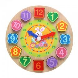Drewniany zegar puzzle z 12 liczbami zabawka