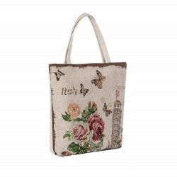 Płócienna torebka z kwiatowym nadrukiem