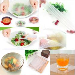 Wielofunkcyjne silikonowe pokrywki na żywność wielokrotnego użytku 4 szt