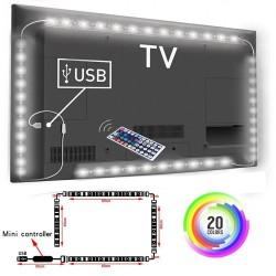 Bande d'éclairage de fond TV LED 1M / 2M / 3M RGB 5050SMD - Connexion USB - Télécommande