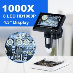 """1000x 2.0MP USB VGA cyfrowy elektroniczny mikroskop - DM4 4.3"""" LCD wyświetlacz - 8 LED stand do naprawy płyty głównej PCB"""