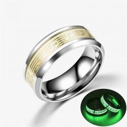 Świecący w ciemności fluorescencyjny pierścionek unisex