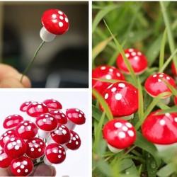 Gartendekoration - mini rote weiße Punktpilze 2cm 10 Stück