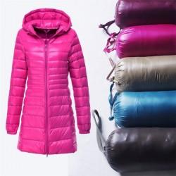 Ultralekka - slim - długa kurtka z kapturem