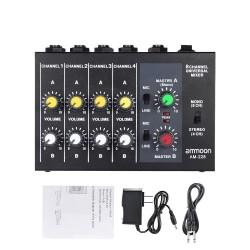 Konsola mikserska AM-228 - ultra-kompaktowa - niski poziom hałasu - 8-kanałowy mikser dźwięku z zasilaczem