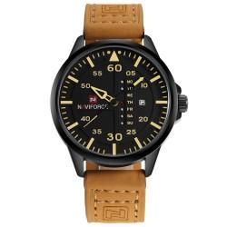 NAVIFORCE - skórzany pasek - zegarek kwarcowy