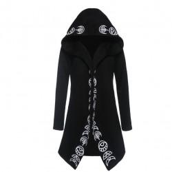 Styl Gothic & Punk styl - długi sweter - luźna bluza z kapturem - bawełniana
