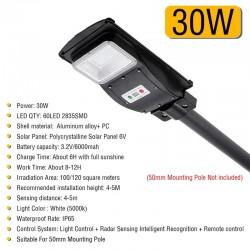 30W - 60W - 90W LED solar Straßenlaterne - Bewegungssensor - Fernbedienung - wasserdicht