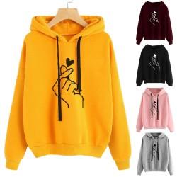 Damesshirt met capuchon - hoodie - katoen - vingertoppen hartjes print