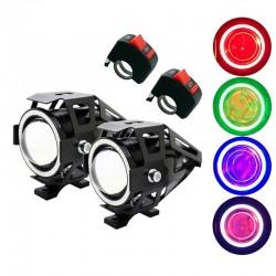 U7 reflektor motocyklowy Angel Eye LED z wyłącznikiem - lampa przeciwmgielna - chip CREE 3000LM - 2 sztuki