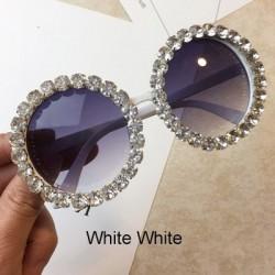 Okrągłe kryształowe okulary przeciwsłoneczne - UV400