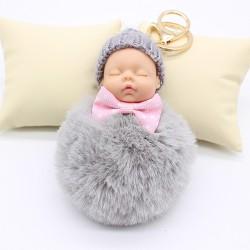 Slapende babypop - sleutelhanger