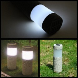 Solar Power LED Stone Pilar Garden Lights 2 Pcs