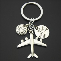 Ziemia & samolot - srebrny brelok do kluczy