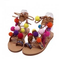 Sandalias de ante con pompones - cordones de piel