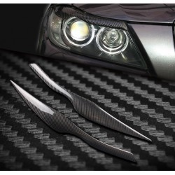 Car headlights eyebrows stickers for 2005 - 2011 BMW E90 E91 4DR - carbon fiber