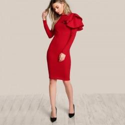COLROVIE Czerwony OL Elegancki Bodycon Sukienka Kobiety z Jednej Strony Wielowarstwowa Wzburzy Sod
