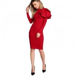 Elegancka - slim - sukienka z długim rękawem z falbaną