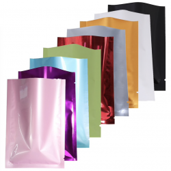 Aluminum flat Mylar coloured bags - recyclable - heat sealing 100 pcs