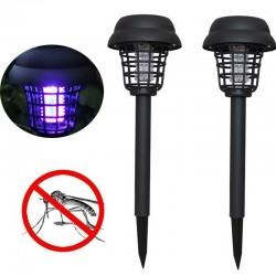 Zonne-energie LED muggendoder gazon lamp tuinverlichting 2 stuks.