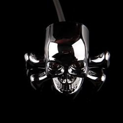 Chrome skull head - LED - motorcycle signal lights - indicators for Honda Yamaha Harley Chopper - 2pcs