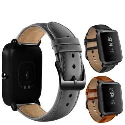Skórzany pasek z czarną klamrą dla zegarka Xiaomi Huami Amazfit Bip