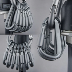 Aluminium karabijnhaak - D-type quick hook 6 stuks