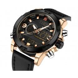 NAVIFORCE de la marca de lujo de los hombres analgico Digital deportes de cuero relojes hombres rel