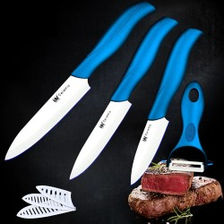 Ceramic slicing knife with one blue handle + white blade peeler cooking tools kitchen knives set