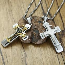 "Collier de 24 ""en acier inoxydable avec pendentif en croix"