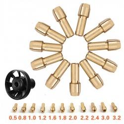 Mosiężny uchwyt zaciskowy & M8*0,75 Dmuchawa Pyłowa - Obrotowy Dremel 12szt