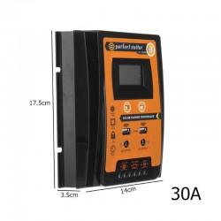 12V 24V 30A 50A 70A MPPT - kontroler ładowania słonecznego - regulator baterii panelu słonecznego - Podwójny USB wyświetlacz LCD