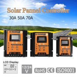 12V 24V 30A 50A 70A MPPT - Regolatore di carica solare - Regolatore della batteria del pannello solare - Doppio display LCD USB