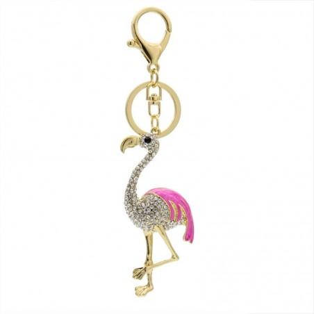 Kristalle Flamingo Schlüsselring