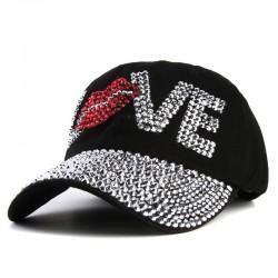 Xthree a buon mercato berretto da baseball di buona qualit tappo di strass amore lettera cappelli d