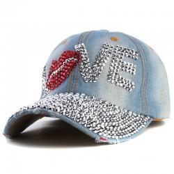 Xthree gorra de bisbol barato buena calidad rhinestone amor cap carta snapback sombreros para hombr