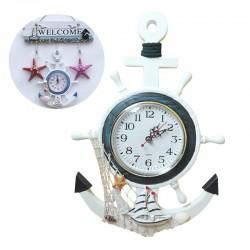 Retro kotwica morska - drewniany zegar ścienny - styl śródziemnomorski